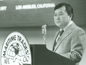 A long time friend of working people, Sen. Daniel Inouye addressed the 1977 MTD Convention.