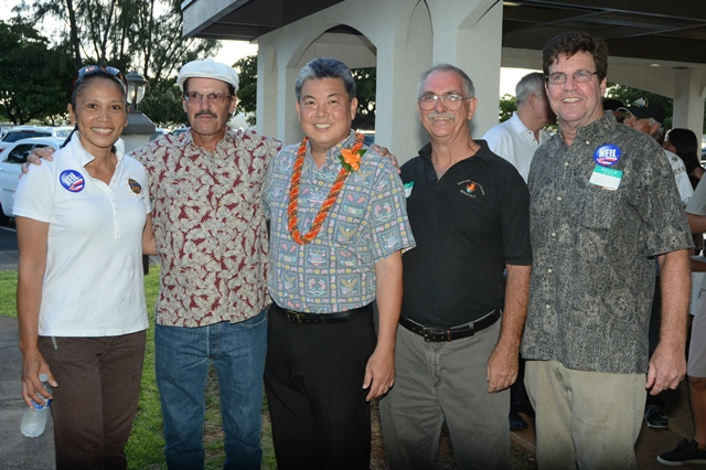 Hawaii PMC members meet with congressional candidate Mark Takai (center). From left are PMC Sec-Treas Hazel Galbiso, PMC Delegate Mike Dirksen, Takai, PMC Pres Randy Swindell and PMC Delegate Gary Aycock.