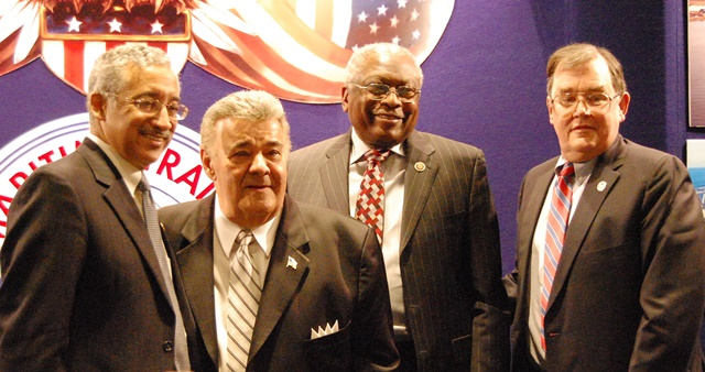 Posing during the MTD Executive Board Meeting are (from left) US Rep Bobby Scott, MTD Pres Michael Sacco, US Rep Jim Clyburn and MTD Exec S/T Daniel Duncan.