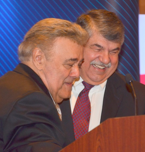 MTD President Michael Sacco (left) greets AFL-CIO President Rich Trumka to open the second day of the MTD Executive Board meeting.