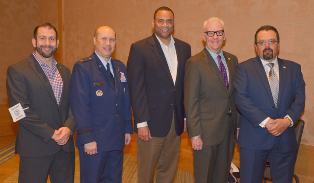 West Gulf Ports Council members pose with MTD Executive Board speakers. From left, PMC Executive Secretary Mike Russo, Mjr. Gen. Giovanni Tuck, US Rep. Marc Veasey, immediate past PMC Executive Secretary Dean Corgey and PMC President Paul Puente.