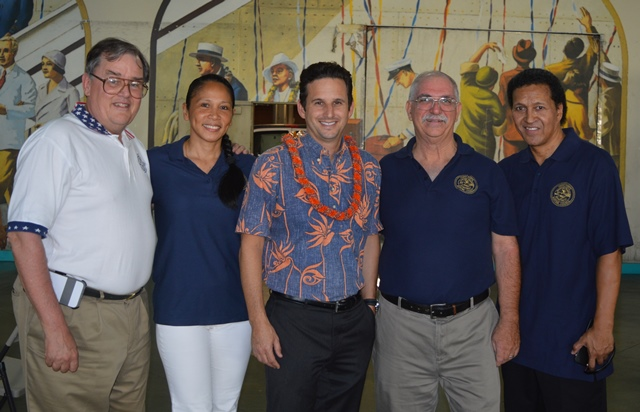 "Posing during the Hawaii Ports Maritime Council's annual ""Ohana Pa'ina"" are (from left) MTD Sec-Treas Daniel Duncan, PMC Sec-Treas Hazel Galbiso, US Sen Brian Schatz, PMC Pres Randy Swindell and PMC VP Luke Kaili."