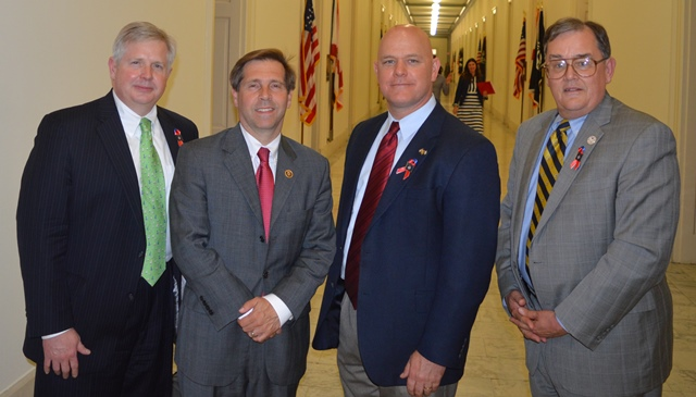 US Rep Chuck Fleischman (R-TN) (second from left) meets with (from left) John Rothrock of AMO, Christopher Barber, VP Business Development & Preference Cargo Marketing at American Roll-On Roll-Off Carrier, and MTD Exec Sec-Treas Daniel Duncan.