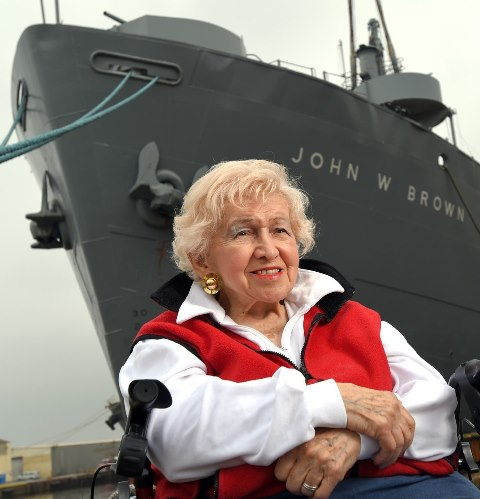 Two Port of Baltimore icons: former US Rep Helen Delich Bentley and Liberty Ship John W. Brown.