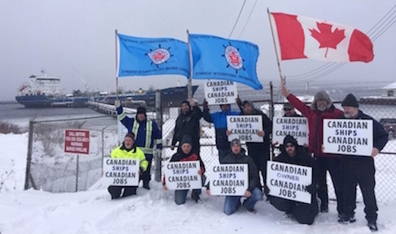 Unionists show their support for the Canadian cabotage laws in St. John's Newfoundland.