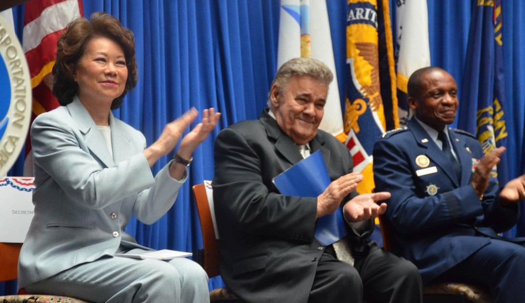 Participating in the Washington, DC, National Maritime Day ceremony are (from left) Transportation Secretary Elaine Chao, MTD President Michael Sacco and USTRANSCOM Commander Daren McDew.